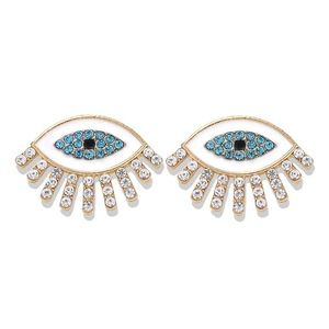 Gold-tone plated evil eye stud earrings white mati